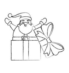 santa claus in giftbox vector image vector image