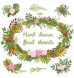 Set of hand drawn floral elements and wreath vector image vector image