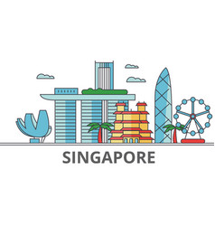 singapore city skyline buildings streets vector image