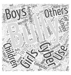 The facts on cyber bullying word cloud concept vector