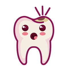 Tooth character with caries vector