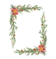 watercolor christmas frame with fir vector image