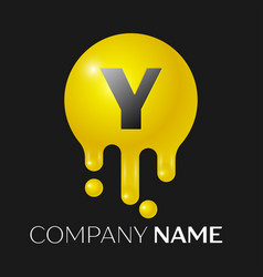 y letter splash logo yellow dots and bubbles vector image vector image