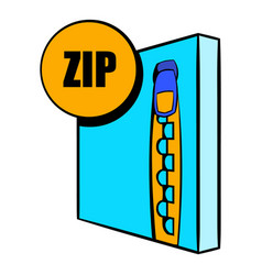 Zip file icon cartoon vector