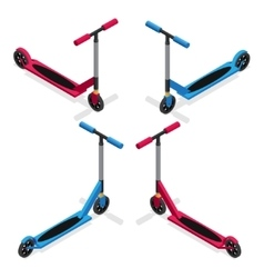 Colorful push kick scooter set vector