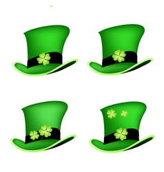 Four leaf clovers on saint patrick hat vector