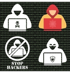 Hacker iconsHacker with laptop hacking the vector image