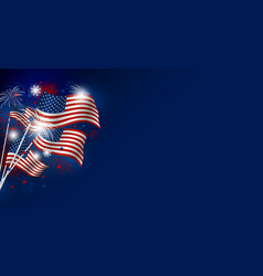 Usa flag with fireworks design on blue background vector