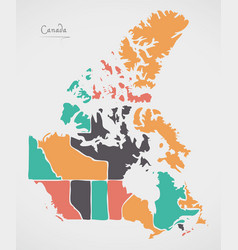 Canada map with states and modern round shapes vector