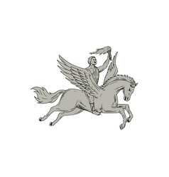 Bellerophon riding pegasus holding torch drawing vector