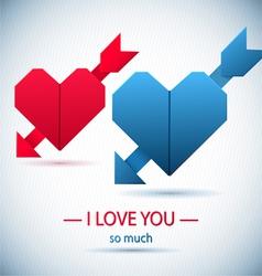 Paper origami symbolic hearts vector image