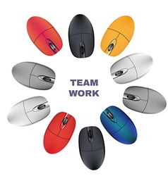 Computer Mouses Team work vector image