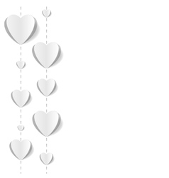 Cut out paper hearts background vector