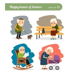 Retirement old people vector