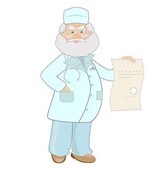 An elderly male physician in a lab coat holding a vector