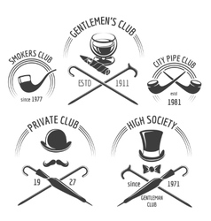 Vintage gentlemen club emblem set vector