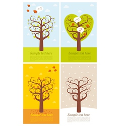 4 banners with seasons vector