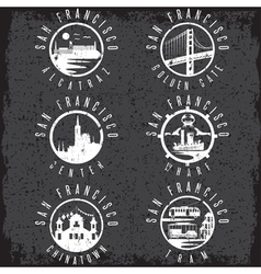 Grunge label set with landmarks of San Francisco vector image