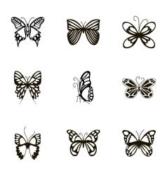 Black beautiful butterflies icons set vector