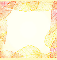 Bright golden autumn leaves abstract frame vector