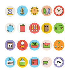 Business and Office Colored Icons 8 vector image vector image