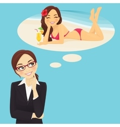 Business woman dreaming about vacation vector