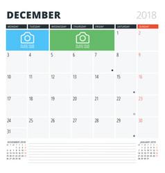 Calendar planner for december 2018 print design vector