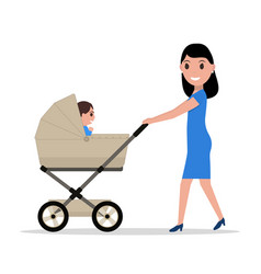 Cartoon mother riding a child baby carriage vector