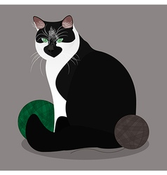 Cat with yarn balls vector