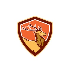 Deer stag buck head shield retro vector