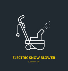 electric snow blower flat line icon sign vector image