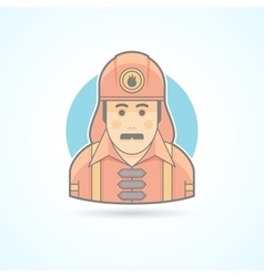 Firefighter fireman icon avatar and person vector