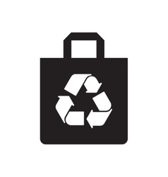 Flat icon in black and white recycling sign vector