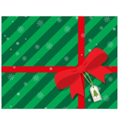 Green gift box with red ribbon bow vector