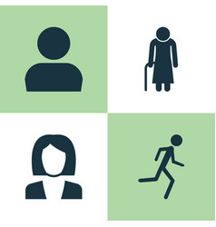 Human icons set collection of old woman vector