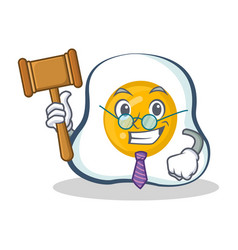 Judge fried egg character cartoon vector