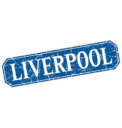 Liverpool blue square grunge retro style sign vector