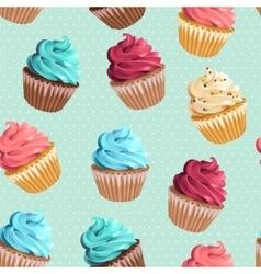 Seamless cupcakes and polka dot vector image vector image