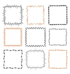Set of 9 decorative square frames vector