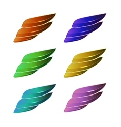 Set of colored wings vector