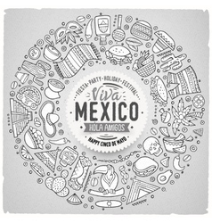 Set of latin american cartoon doodle objects vector