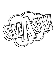 Smash comic text sound effect icon outline style vector