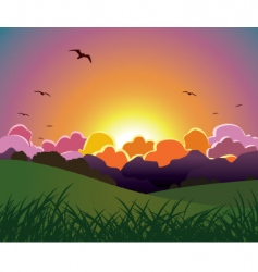 sunset vector image