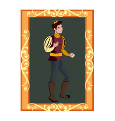 The portrait of prince charming in golden frame vector