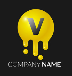 V letter splash logo yellow dots and bubbles vector