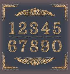 vintage stylized numbers with floral elements vector image