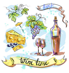 watercolor best wine time concept sketch vector image