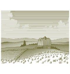 Woodcut Barn and Farm vector image vector image