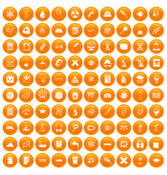 100 microscope icons set orange vector