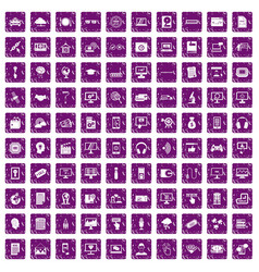 100 website icons set grunge purple vector